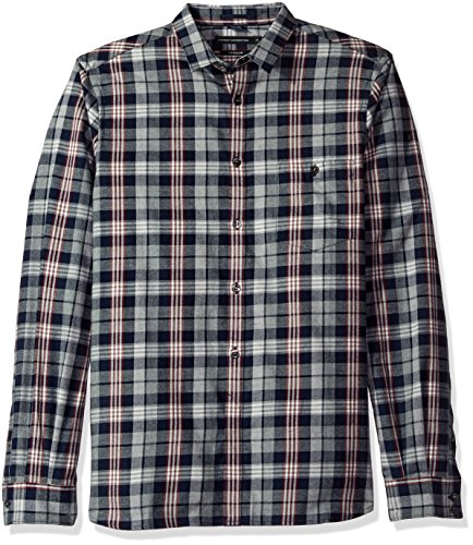 French Connection Men's Twill Check Shirt, Marine Blue, S