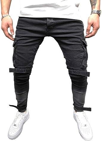 TALLA 34. BMEIG Jeans Ajustados Hombre Rotos Pantalones de Mezclilla Elásticos Slim Fit Ripped Desgastados con Bolsillo Trabajo Hiphop Pantalones de Chándal Cargo Invierno Negro M-4XL