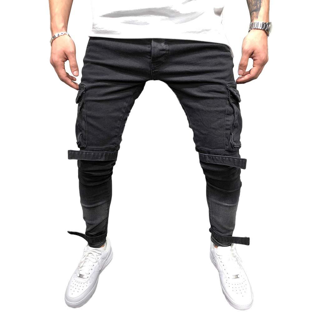 BMEIG Jeans Ajustados Hombre Rotos Pantalones de Mezclilla Elásticos Slim Fit Ripped Desgastados con Bolsillo Trabajo Hiphop Pantalones de Chándal Cargo Invierno Negro M-4XL