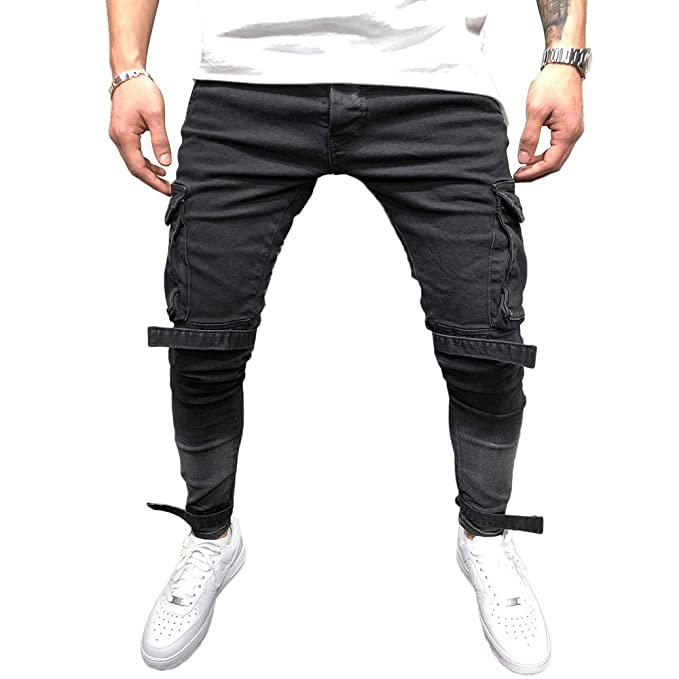 60b6a82a50145 BMEIG Jeans Ajustados Hombre Rotos Pantalones de Mezclilla Elásticos Slim  Fit Ripped Desgastados con Bolsillo Trabajo Hiphop Pantalones de Chándal  Cargo ...