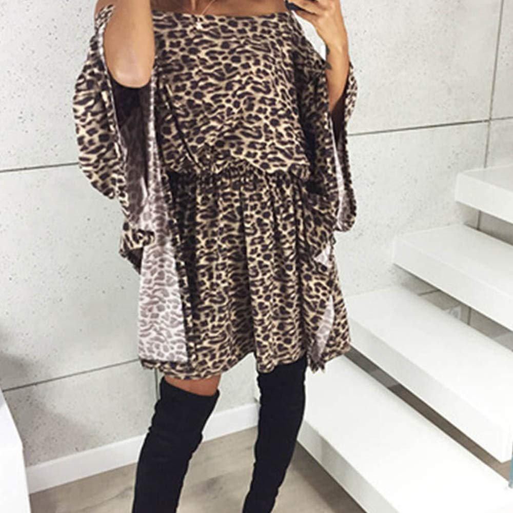 6af40615bbe Novania Womens Summer Dress Sexy V Neck Sleeveless Cocktail Party Leopard  Dress at Amazon Women s Clothing store