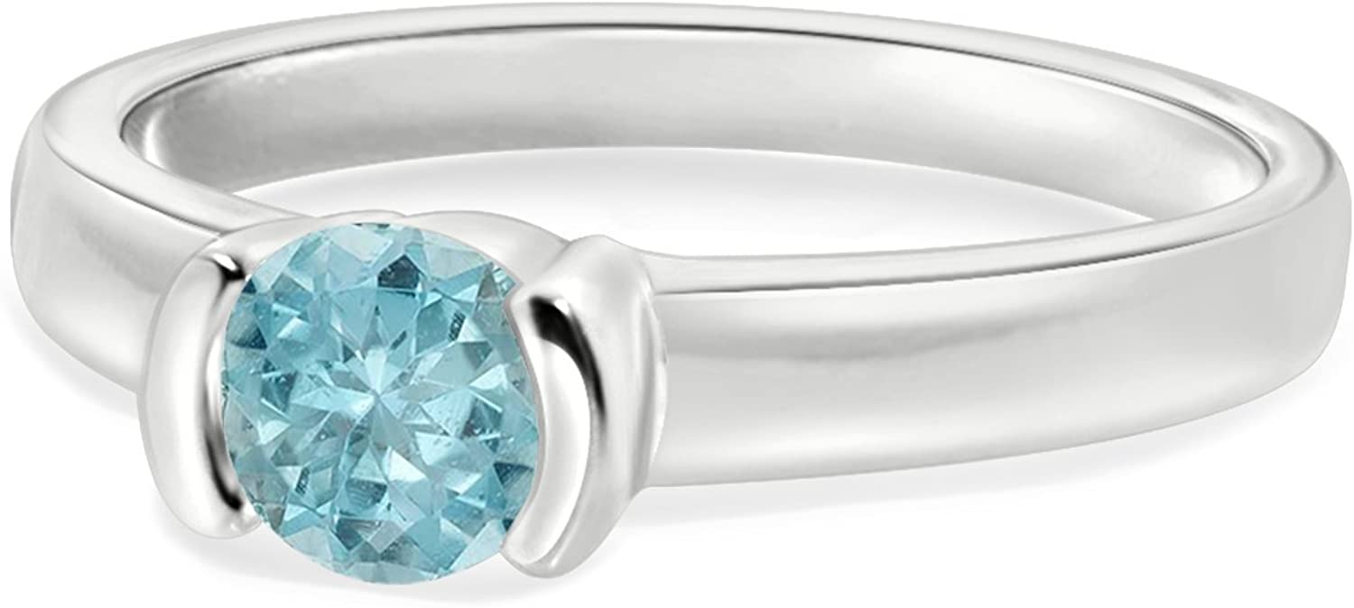 Diamond Scotch Solitaire Simulated Gemstone Party Wear Ring for Women in White Gold Plating