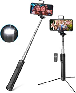 Selfie Stick, BlitzWolf 3 in 1 Mini Extendable Aluminum Bluetooth Selfie Stick Tripod with Wireless Remote and 3 Level Fill Light for iPhone XS MAX XR X 8 8 Plus 7 7 Plus 6 6S, Android Phones, Cameras