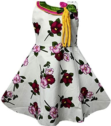 All About Pinks Girl's Cotton Bow Frock Girls' Dresses & Jumpsuits at amazon