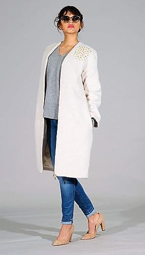 Abrigo de lana, color blanco - Alta calidad - Mujer