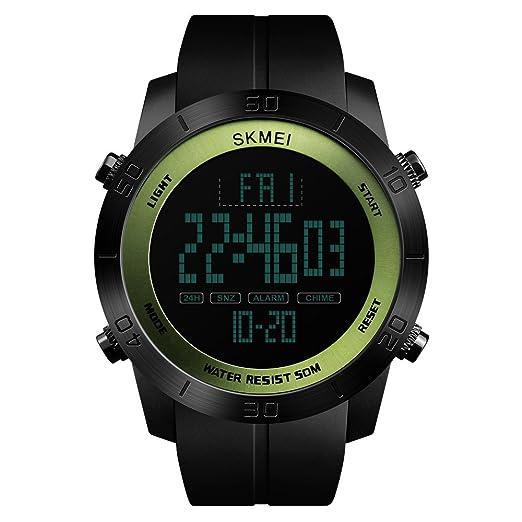 FeiWen Deportivo Digitales Relojes de Pulsera de Hombre 50M Impermeable Multifuncional LED Electrónica Outdoo Militar Reloj Doble Tiempo Alarma: Amazon.es: ...