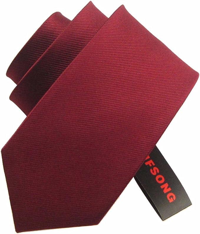 HXCMAN 8cm vino rojo borgoña liso corbata Diseño clásico 100% seda ...