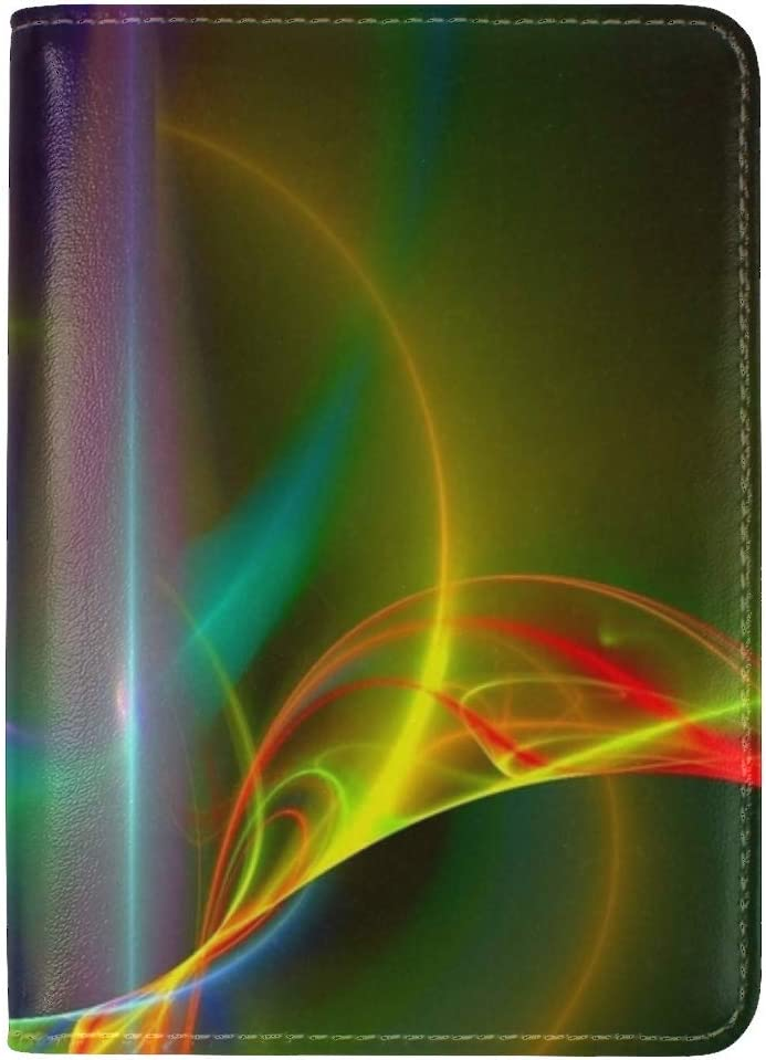 JiaoL Lines Colors Background Wavy Leather Passport Holder Cover Case Travel One Pocket