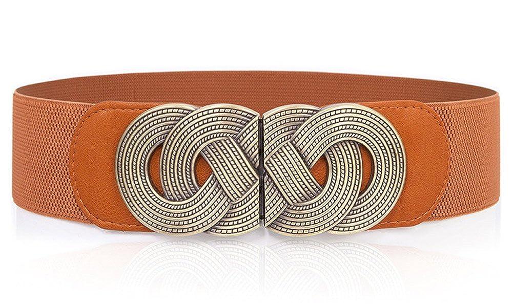 Aecibzo Women Retro Wide Elastic Waist Belt Stretch Waist Band Cinch Boho Belt
