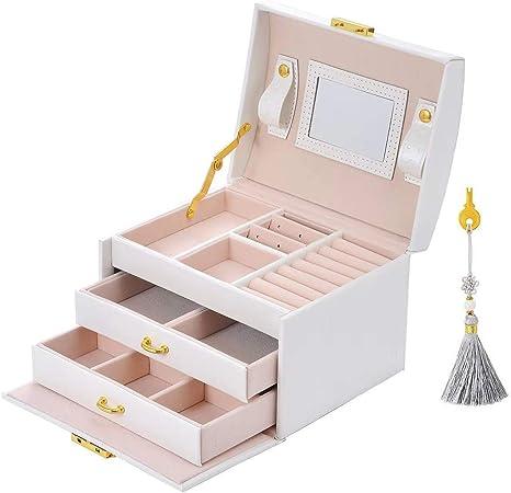 E-MANIS Caja Joyero Caja de Joyas,Estuche Rectangular para Guardar Joyas,Pendientes,Anillos y Collares,Espejo y Cajones,Tapa Elevable para Relojes (Blanco): Amazon.es: Hogar