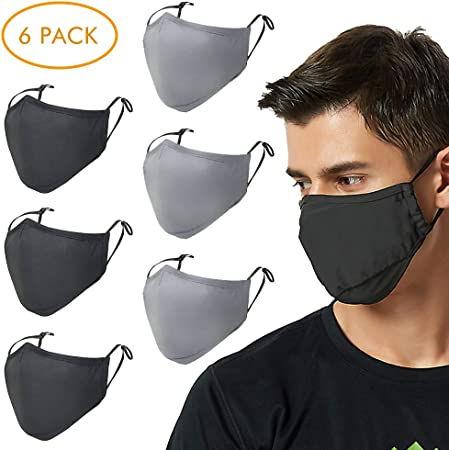 Fanspack 6PCS Mouth Cover Activated Carbon PM2.5 Dust Proof Half Face Cover Mouth Cover