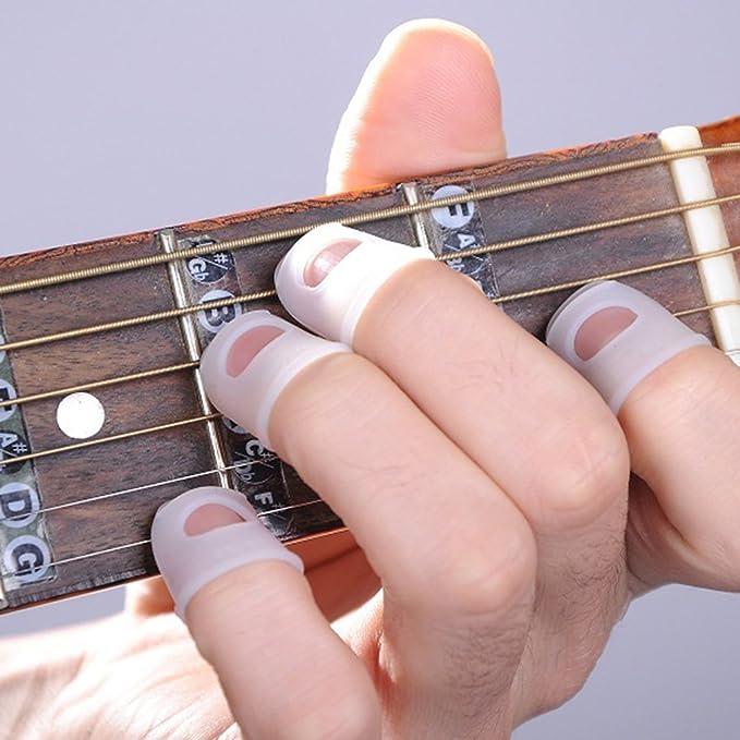 4x Gitarren Fingertip Protektoren Silikon Fingerschutz fürBass//Ukulele GitRSFD
