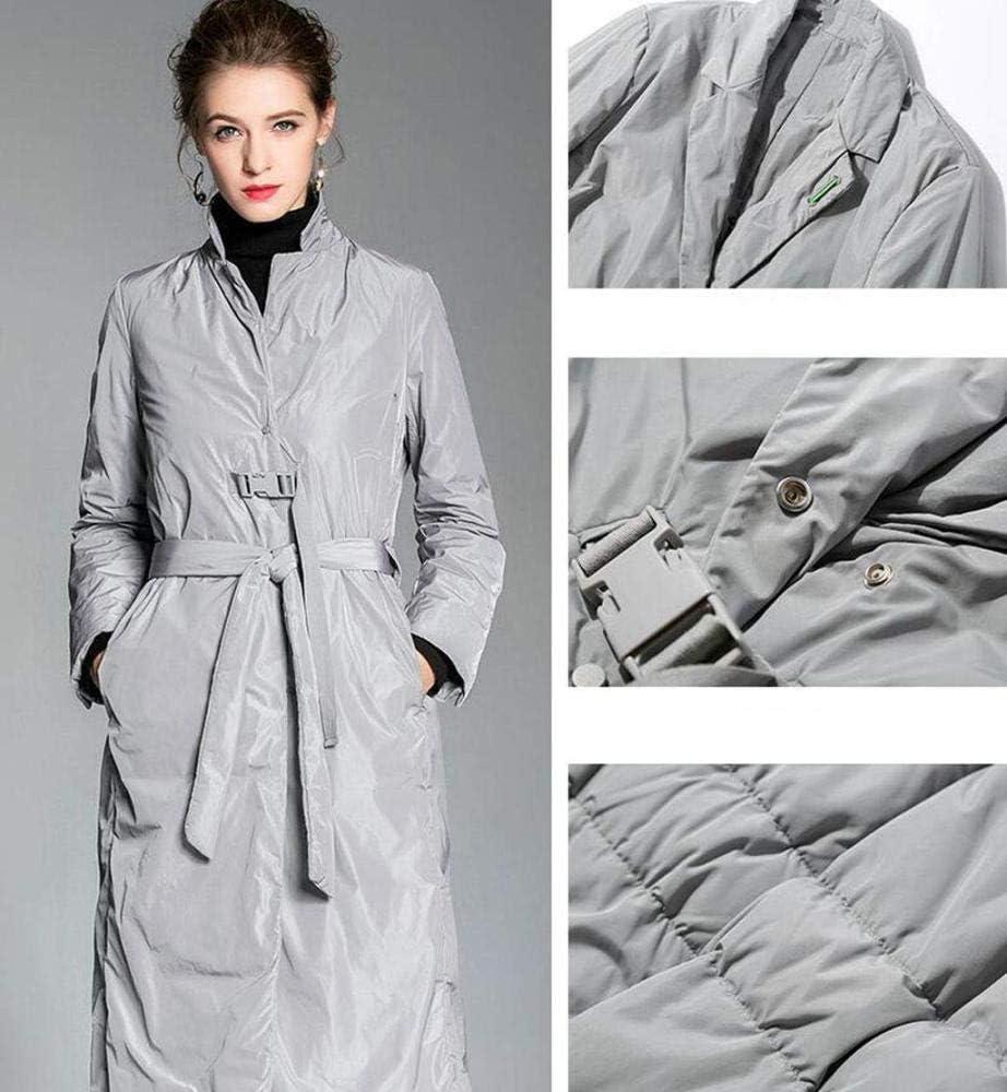 WANGXIAO Piumino Donna,Giaccone Lungo da Esterno Lungo Cappotto Spesso Spesso Casual Casual da Donna per Abbigliamento da Lavoro All'aperto,Black-XL Grey