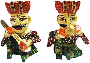 Laxman Art Wooden Handcrafted Rajasthani Statue Sitting Musician Figurine Set Bawla for Home Décor, Wall Decor and Gift Purpose (Set of 2 Pcs)