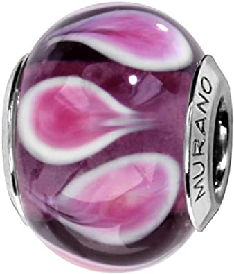 charm pandora vetro murano viola