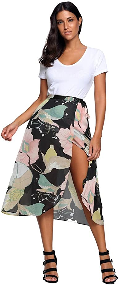 Vintage Women/'s High Waist Beach Long Maxi Dresses Boho Floral Split Skirt S-XL
