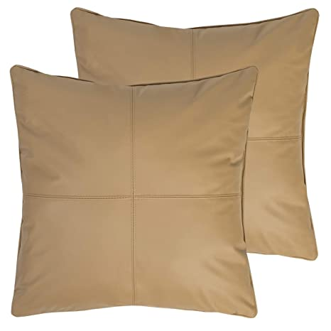 Sweet Home Collection Decorative Pillows 2 Pack Faux Leather Soft Throw Cushion Solid Color for Couch, Sofa, Chair, Bed, 18