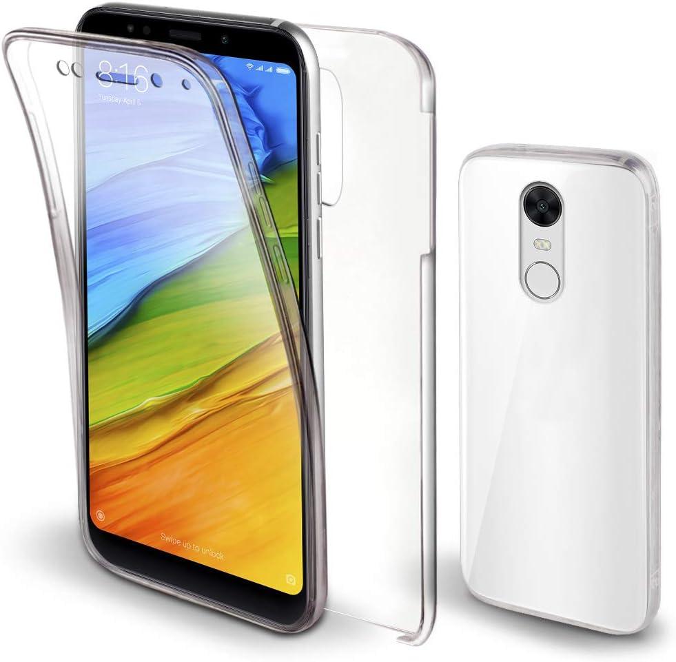 Moozy Funda 360 Grados para Xiaomi Redmi 5 Plus Transparente - Full Body Case Cover Cuerpo Completo - Parte Delantera de Silicona, Trasera de PC Duro