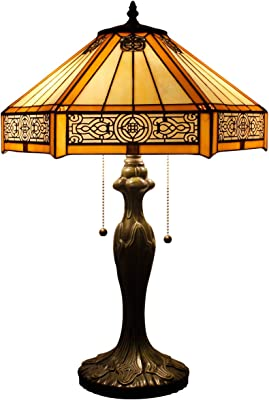 Tiffany Lamp Yellow Hexagon Stained Glass Coffee Table Lamps Bookcase Reading Lighting Lampshade Antique Style BaseW16 H24 Inch Living Room Bedroom Dresser Bedside Desk S011 WERFACTORY