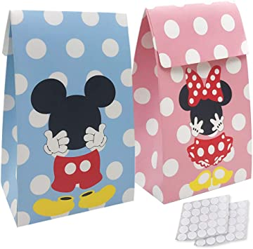 Amazon.com: Paquete de 20 bolsas de regalo de papel Mickey ...