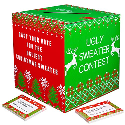 Ugly Sweater Ballot (Ugly Sweater Contest Ballot Box - Christmas Party Game Supplies with 50 Voting Cards(Assembly)