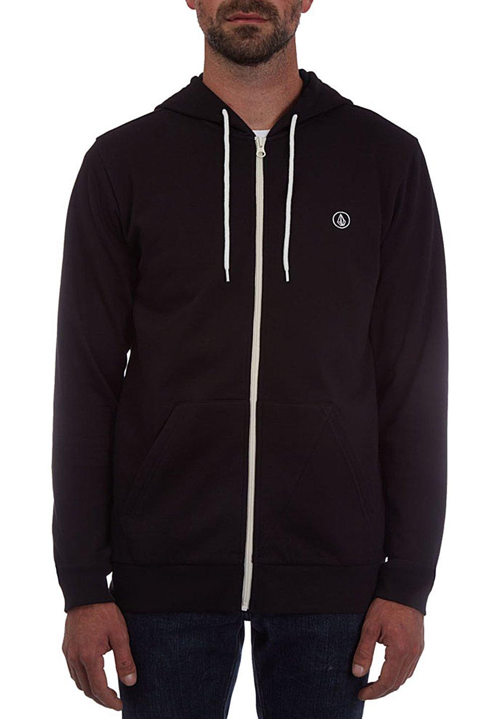 Volcom Herren Icon Zip Hoodie Lightweight Pullover Sweatshirt Kapuzenpulli Reißverschluss Schwarz Kapuzenpullover