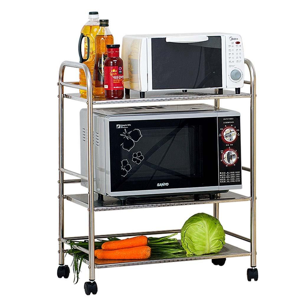 CivilWeaEU- Edelstahl Küchenregal Mikrowellenofen Regal Küchenzubehör Regalböden 3 -Regal