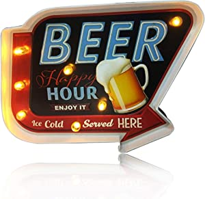ACECAR Beer Wall Decorations,Metal Vintage Handmade Marquee Embossed Tin Decor,Industrial Style Wall Hanging Sign,for Apartment,Home,Bar or Cafe Wall Decoration–Battery Operated