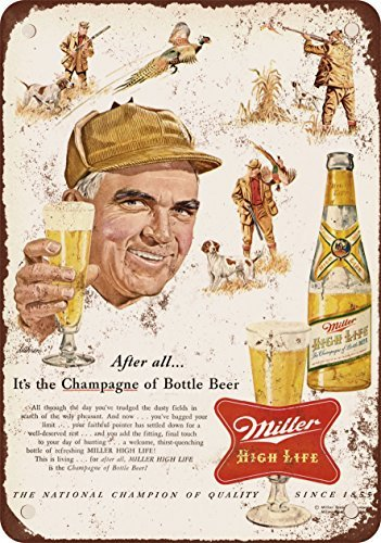 (1954 Miller Beer and Pheasant Hunting Vintage Look Reproduction Metal Tin Sign 12X18 Inches)