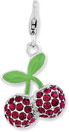 GORGEOUS CHERRY ENAMEL CHARM ON SILVER PLATED LOBSTER CLASP