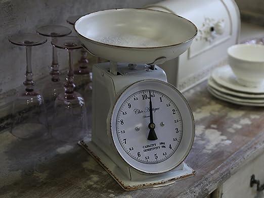 Chic Antique Franz. Báscula de Cocina Metal Antiguo Blanco ...