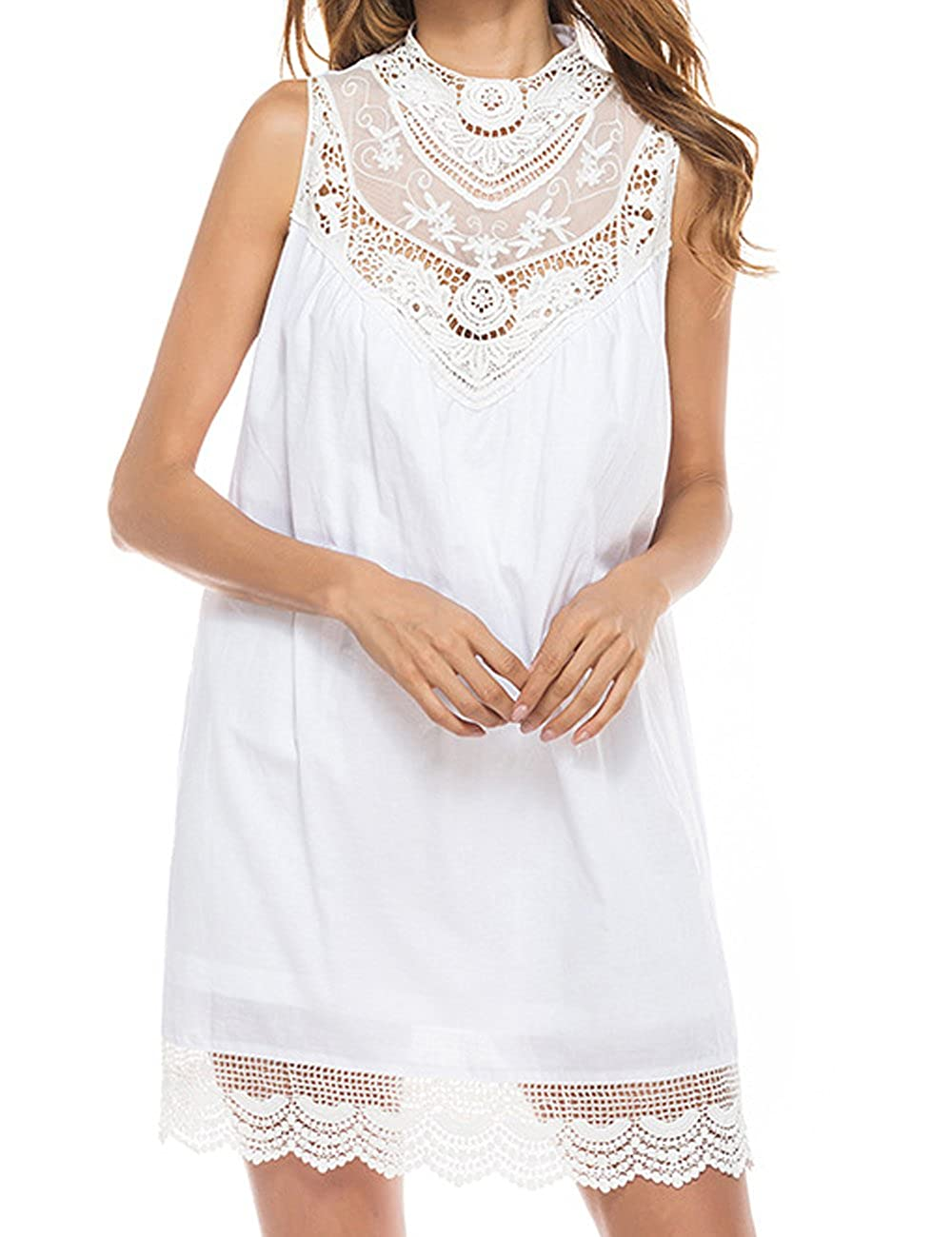 7b9cc7cdb6f Aishang Womens Mock Neck Sleeveless Lace Blouse White Loose Tunic White  Mini Dress at Amazon Women s Clothing store