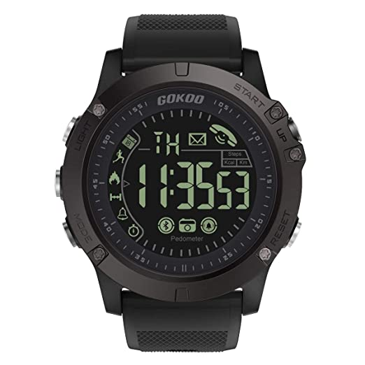 GOKOO Smartwatch Hombre Deporte Reloj Inteligente Hombre Fitness Tracker para Deportes y Aire Libre con Contadores de Calorías Cronómetro Notificación de ...