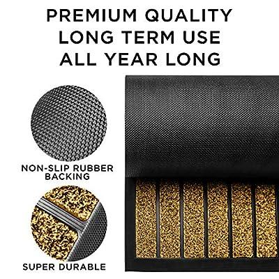 Extra Durable Striped Doormat Outdoor - Rubber Doormat Indoor - Non-Slip Waterproof Doormat Rug (30 x 17) Back Front Doormat, Welcome Mat Easy Clean Entrance Home Doormat - Inside Outside Doormat