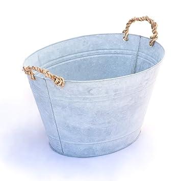 Antikas - bañera de zinc con asas de cuerda - bañera decorativa de jardín - bañeras antiguas: Amazon.es: Jardín