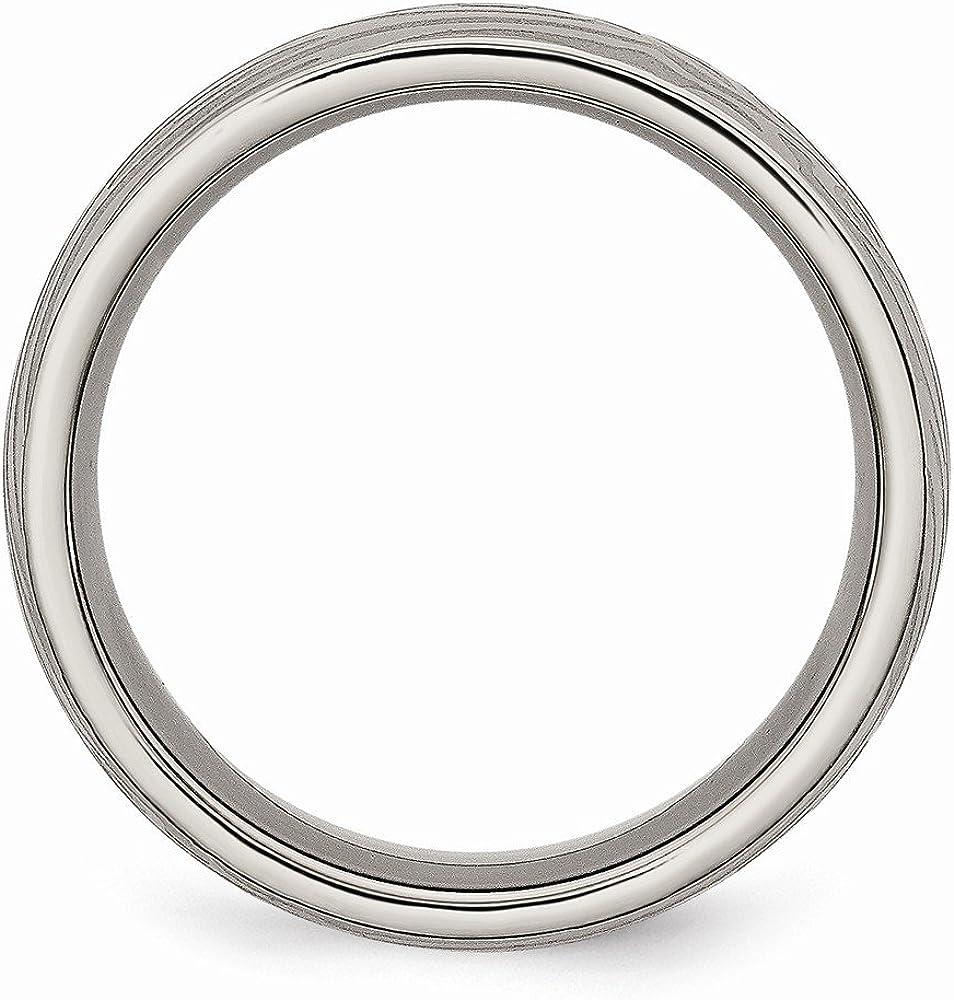 Grey Titanium Ring Polished Brushed 8 mm 8mm Woodgrain Brushed Band