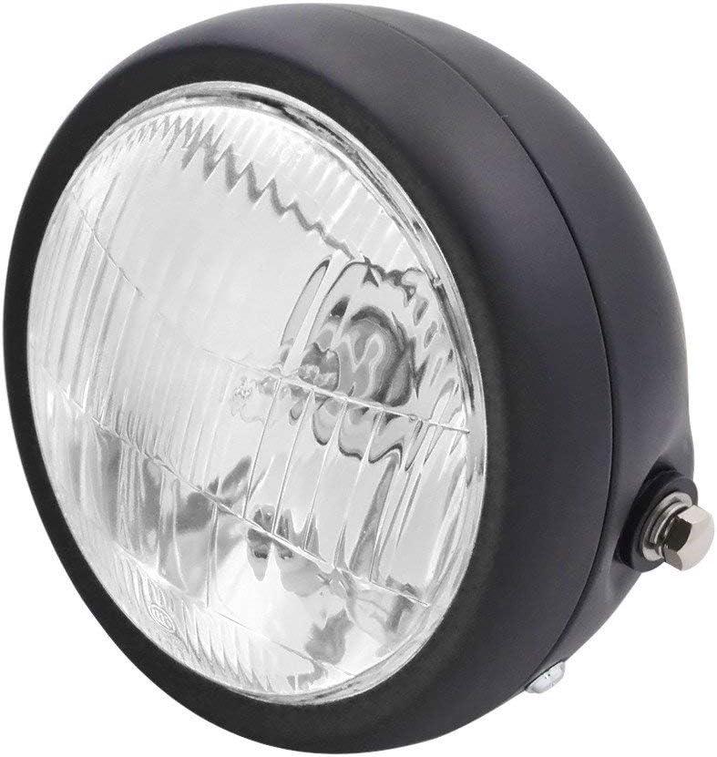 HANEU Faro LED para motocicleta, compatible con Cafe Racer, Bobber y Touring, 16,5 cm (negro): Amazon.es: Coche y moto