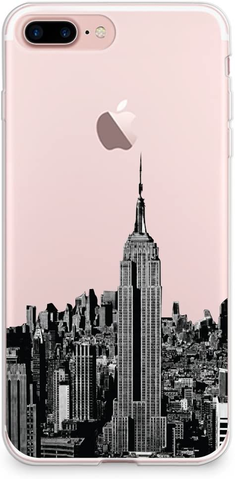 """CasesByLorraine Compatible with iPhone 8 Plus/iPhone 7 Plus Case, NYC New York City Clear Transparent Flexible TPU Soft Gel Protective Cover for iPhone 7/8 Plus 5.5"""""""