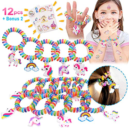 Pawliss Unicorn Bracelets Wristband, 12 Pack Elastic Hair Ties 2 Tattoos, Kids Girls Birthday Party Favors Supplies Novel Prizes Gifts Toys