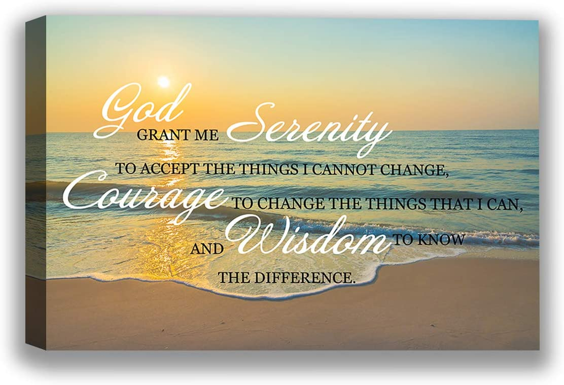 "Serenity Courage Wisdom Biblical Quotes - Religious Christian Inspirational Wall Art Painting for Living Room Bedroom Home - Ready to Hang Canvas Decor Serenity Prayer Wall Decor - 8"" x 10"""