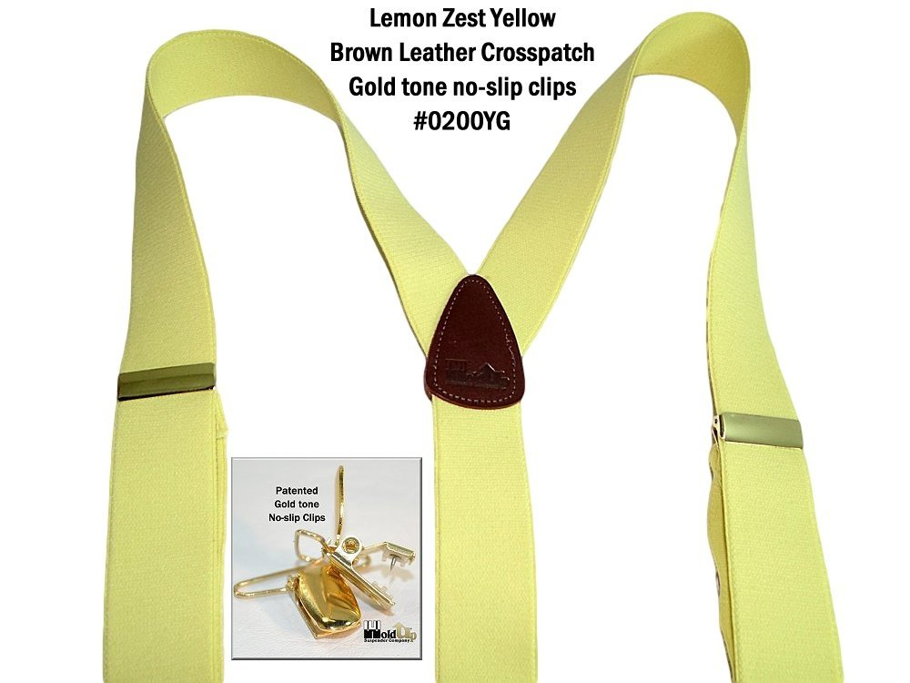 Hold-Ups Lemon Yellow Suspenders 1 1/2'' wide in Y-back with No-slip Gold Clips by Hold-Up Suspender Co. (Image #8)