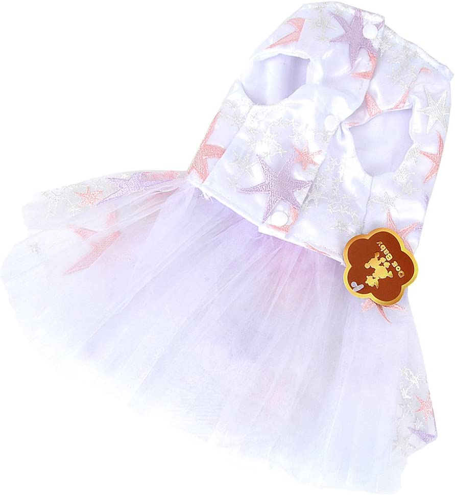 Ranphy 2018 New Flower Stars White Wedding Dress for Small Dog//Cat Girl Tulle Tutu Skirt Puppy Clothes Size M