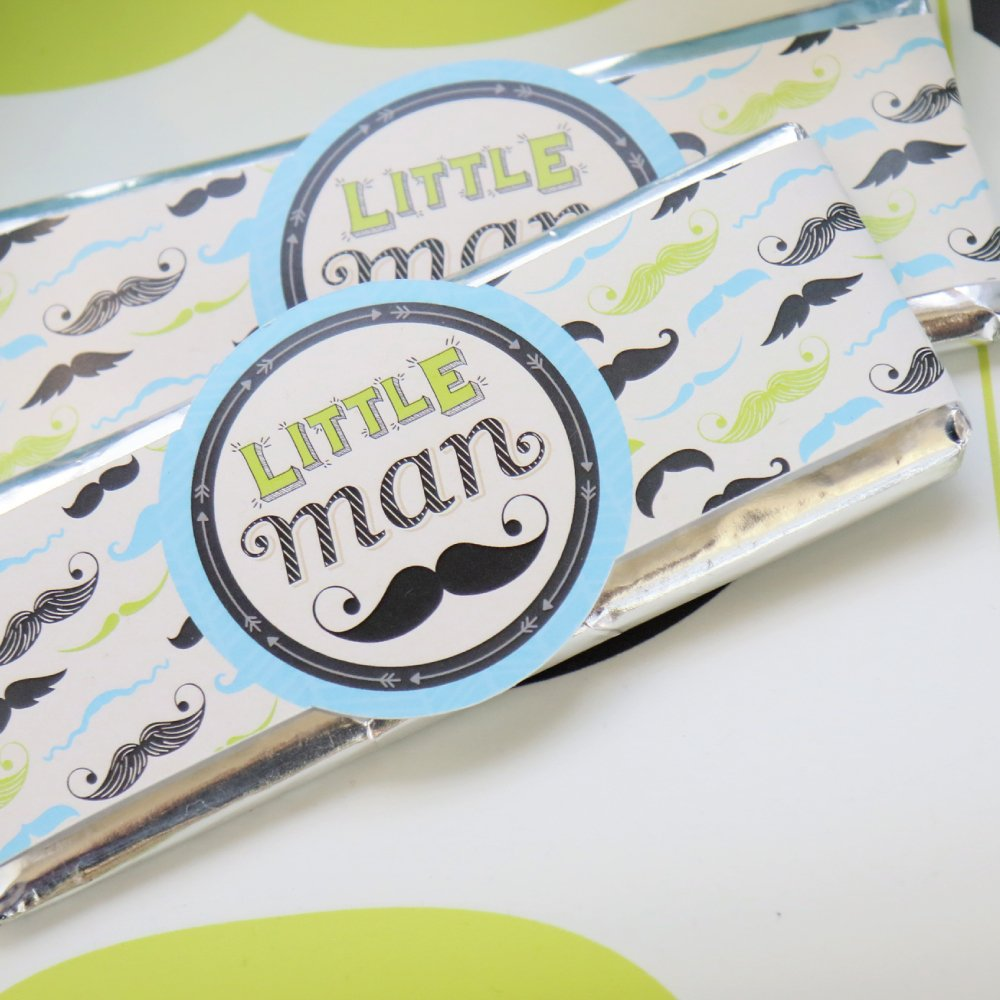 DIY Party Supplies Baby Shower or Birthday Party DIY Wrapper Favors /& Decorations Set of 15 Dashing Little Man Mustache Party