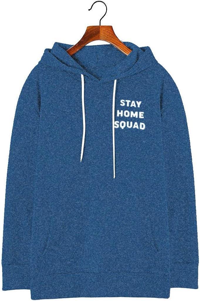 Womens Hooded Jumper Tops Long Sleeve Sweatshirt Letter Print Pullover Hoodies with Pocket