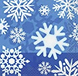 Invierno Copo De Nieve Holiday Bebidas servilletas, 16 ct