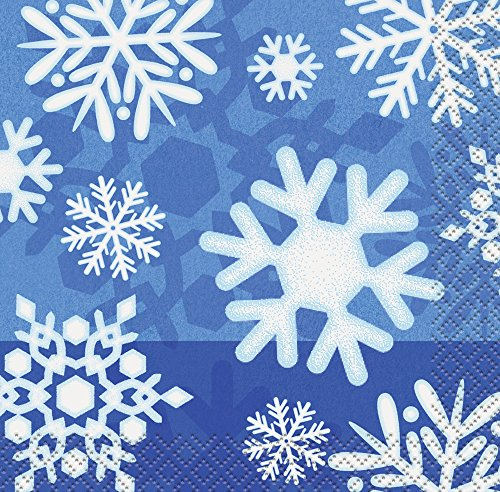 Winter Snowflake Holiday Beverage Napkins