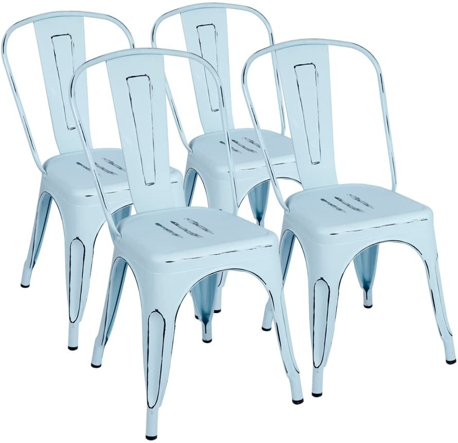 Furmax Metal Dining Chairs Set of 4 Indoor Outdoor Patio Chicken 18 Inch Seat Height Trattoria Chic Bistro Cafe Side Stackable, Blue