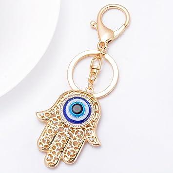 Llavero con amuleto de mano de Hamsa, dorado, ojo de Fátima, bonito símbolo de Talismán Khamsa, colgante de mal de ojo, llavero trae suerte y protege ...