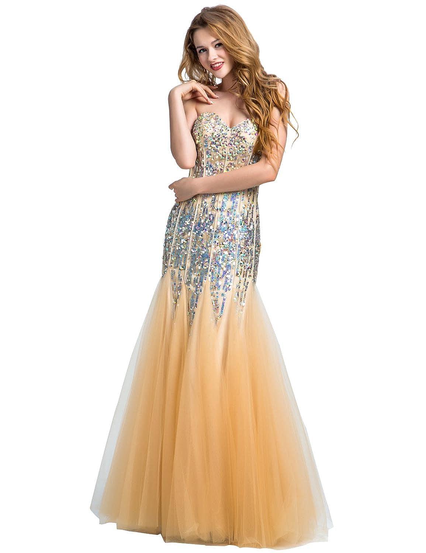 Sarahbridal Women's 2016 Tulle Mermaid Beaded Evening Prom Dress LX089