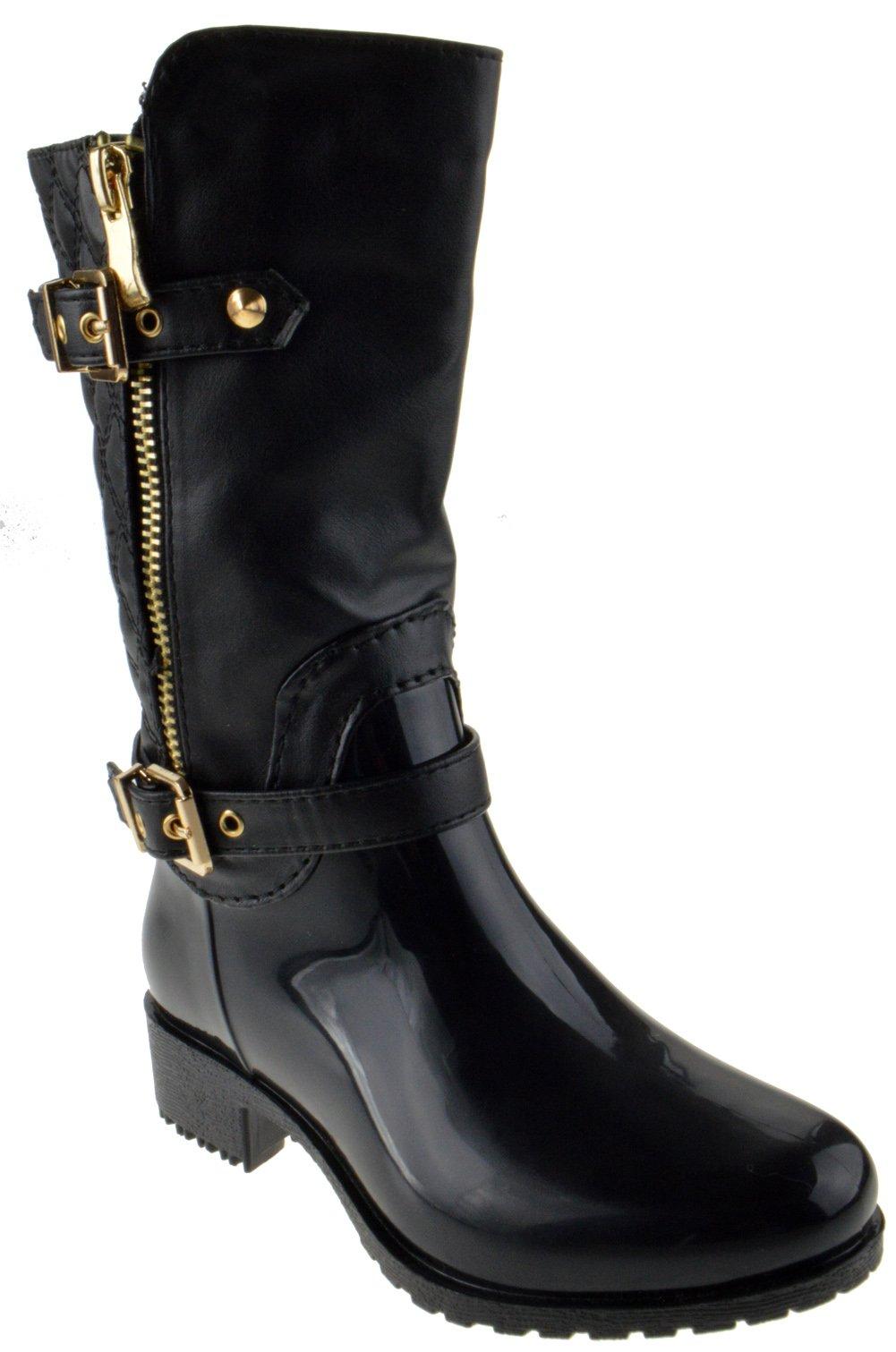 Rainy 6K Little Girls Pvc Riding Waterproof Zipper Boots Black 1